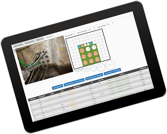 Relevé de support ftth sur tablette